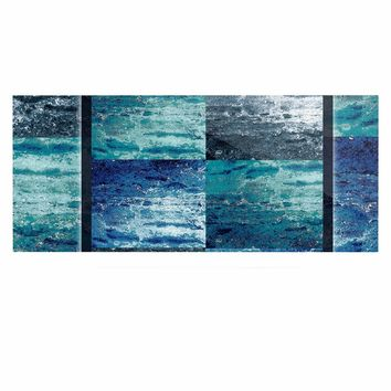 "Nina May ""Tavertina Blue"" Blue Teal Mixed Media Luxe Rectangle Panel"