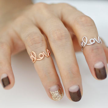 Midi love ring , Love Script Ring / love ring/love letter ring/couple ring /friendship ring/best friend ring/ Xoxo/LOVE promise ring