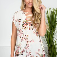 Spring Time Floral Ivory Top