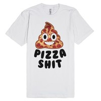 Pizza Shit Emoji-Unisex White T-Shirt