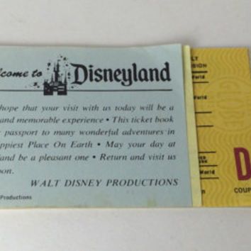 Rare - Admission and 13 Adventures in Disneyland - 5.75 - Adult Ticket Book from June 1974 with A B C D Coupon