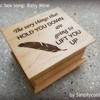 Baby mine music box, inspirational gift, feather, last minute gift, going away gift, music box by Simplycoolgifts