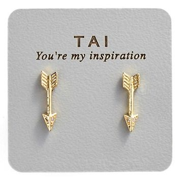 Women's Tai Stud Earrings - Gold Arrow