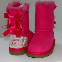 Luxury Bailey Bow Ugg Boots made w Swarovski Crystals by luxeice