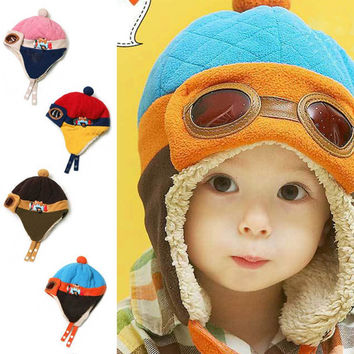 Hot sales Toddlers Cool Baby Boy Girl Kids Infant Winter Pilot Warm Cap Hat Beanie
