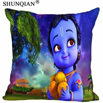 Custom Pillowcase Cover Little Krishna square zipper Pillow Cover Best Gift For kids 20x20cm,35x35cm(one side)
