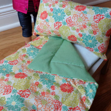 Coral Floral & Asparagus Green 18in Doll Bedding Set