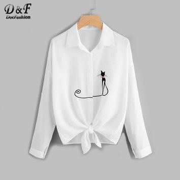 Drop Shoulder Cat Embroidered Knotted Hem Shirt White Lapel Equipment Tops Button Long Sleeve Summer Blouse