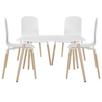 Stack Dining Chairs and Table Wood Set of 5 White EEI-1375-WHI