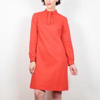 Vintage Mod Red Dress 1960s Dress Classic Shift Dress Ascot Bow Tie Collar Long Sleeve Space Age Dress Go Go Dress 60s Dress S Small M Med