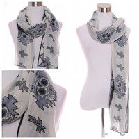 Sugar Skull Aztec Cross Scarf Day of the Dead Wrap - Grey