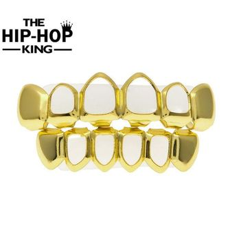 DCCKF4S Gold Color Hiphop Teeth Grill Top & Bottom Grill Hip Hop Bling Hollow Vampire Teeth for Halloween Christmas Gift