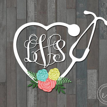 Custom Monogram Nurse Stethoscope Heart Decal, Car, Monogram, Personalized Name, Yeti, RTIC, Tumbler Decal Decals, Nurse Nursing Stethoscope