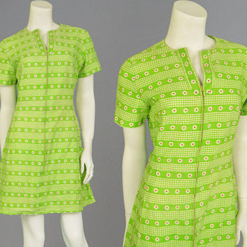 Vintage 60s Flower Power Mini Dress Green Floral Print Mod Dress Boho Dress Shift Dress Sixties Clothing 1960s Dress Gingham Stripes
