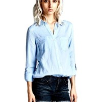 Chambray Button Down Shirt, Light Chambray
