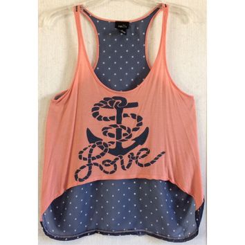 Rue21 Chiffon Back Anchor Tank Top Love Rope High Low Polka Dot Navy Coral M