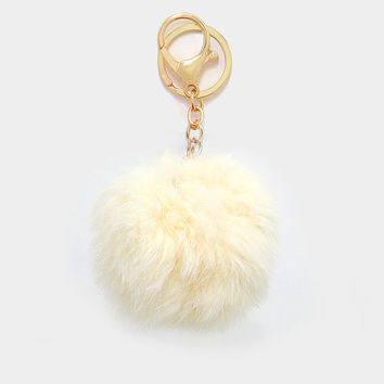 Ivory Rabbit Fur Pom Pom Key Chain / Bag Charm Key chain, gift