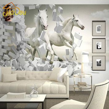 Home Improvement Custom 3D Wall Murals Wallpaper White Horse Living Room Sofa TV Backdrop Wallapper For Walls Contact Paper 3D