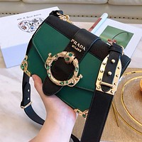 """PRADA"" Hot Sale Women Shopping Bag Leather Shoulder Bag Crossbody Green"
