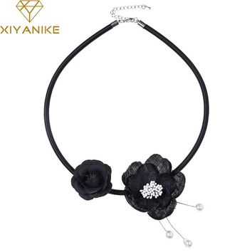 XIYANIKE New Handmade Gauze Fabric Flower Noble Elegant Imitate Pearl Choker Necklace Leather Fashion Wedding Jewelry CollarN754