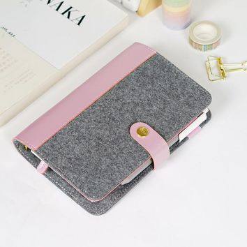 Japanese Personal Dairy Felt With Pu Leather Travel Journal Golden Ring Office Binder Notebook Cute Kawaii Agenda Planner A5 A6