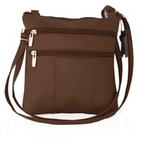 Genuine Two Fronts Leather Multi-Pocket Crossbody Purse Bag