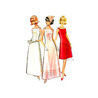 Vintage McCall's Sewing Pattern 7581 Misses' Evening Dress in Two Lengths with Petticoat & Scarf Size 10 Bust 31 1960s