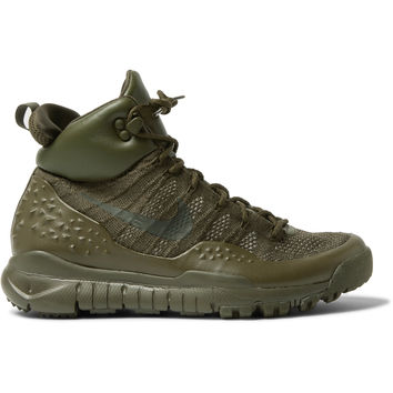 Nike - Lupinek Leather-Trimmed Flyknit High-Top Sneakers