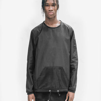 Mesh Pocket Nylon Crewneck in Black