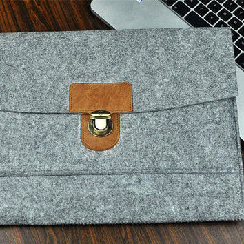 Leather Briefcase case,  Felt  laptop bag,  HP 14 inch laptop sleeve, leather laptop case. leather laptop Sleeve.Custom  size,Christmas gift