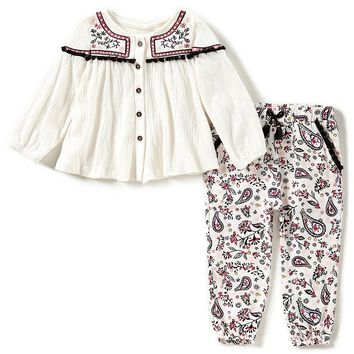 Jessica Simpson Baby Girls 12-24 Months Embroidered Long-Sleeve Top & Patterned Pants Set | Dillards