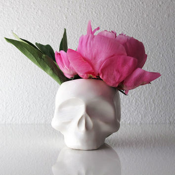 Ceramic Skull Flower Vase Candy Dish Planter