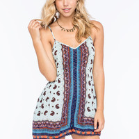 Angie Split Border Print Crochet Trim Womens Romper Blue  In Sizes
