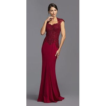 CLEARANCE - Burgundy Appliqued Long Formal Dress with Short Train (Size Small)