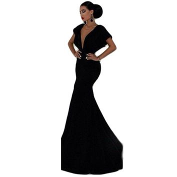 Women's Elegant, Chic, Trend Setting Statement, V Neck, Plunging Back, Bodycon Mermaid Ball Gown