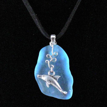 Dolphin and Blue Glass on Black Leather Necklace by SeventhChild