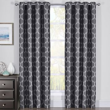 100% Blackout Curtain Panels Alana - Woven Jacquard Triple Pass Thermal Insulated (Set of 2 Panels)