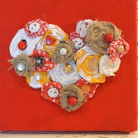 Valentines Day wall hanging HEART fabric flowers burlap decor 9 x 9 canvas Upcycled