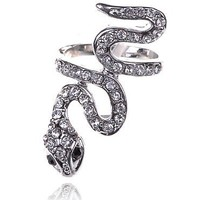 Alilang Silver Tone Clear Crystal Colored Rhinestones Exotic Snake Wrap Ring