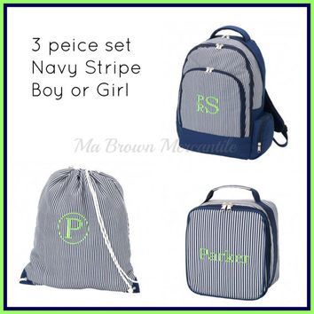 3pc Set - Monogrammed Navy Stripe Backpack Lunch Gym Cinch Sack - Back to School - Unisex Backpack - Navy Lunchbox - Drawstring Gym Bag