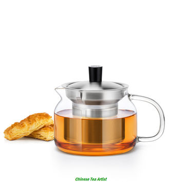 470ml Super Quality  Modern Heat Resistant Glass Teapot with intergrated strainer