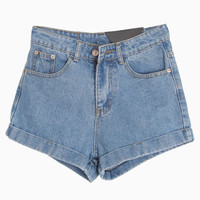 Roll Up Denim Shorts in Light Blue - Choies.com