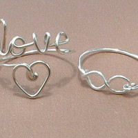 Infinity and Love Ring set........sterling silver