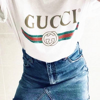 """Gucci""Hot letters print T-shirt top White For Black Firday"