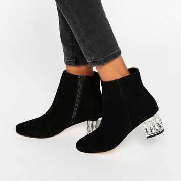 Dune Orion Embellished Suede Mid Heeled Ankle Boots