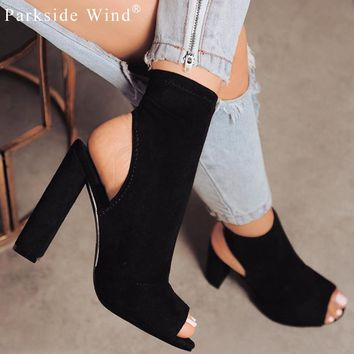 Parkside Wind Sexy Women Boots Fashion Ankle Boots Peep Toe American Style Zipper Flock Plus 43 Shoes Women Boots Shoes 1495-5