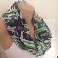 Green Scarf - Butterfly Print Scarf - Long Scarf - Shawl - Green - Black - White Pashmina
