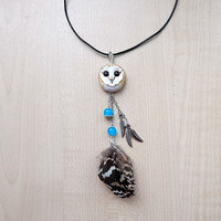 Barn-owl pendant, women's jewelry, animal jewelry, handmade owl, owl totem, owl pendant necklace, gift for her, barn owl totem, birds