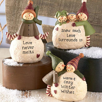 Snowball Snowmen Figurines Christmas Winter Holiday Decor