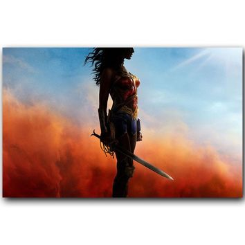 Wonder Woman Movie Art Silk Fabric Print (Unframed)